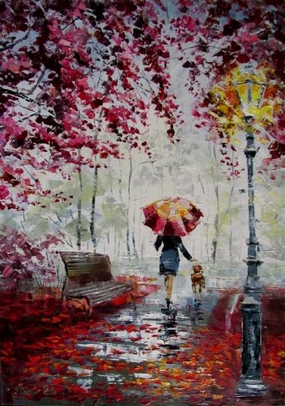 Картина маслом пейзаж «Багряная осень» купить живопись для современных интерьеров Украина