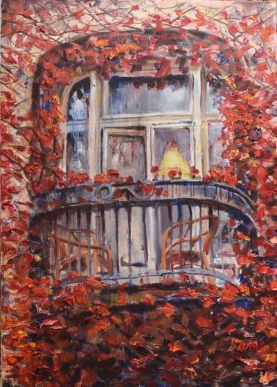 Картина «Балкончик на двоих» купить картину маслом Киев
