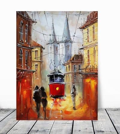 Картина маслом городской пейзаж «Волшебство. Львов» купить живопись для современных интерьеров Украина