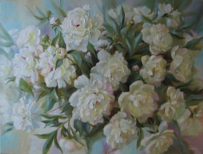 Картина «Белые пионы» 6
