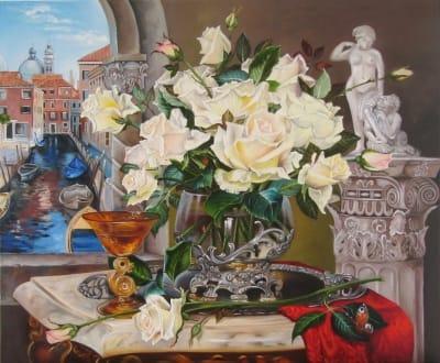 Картина «Белые розы» авторская копия Дмитрия Власова