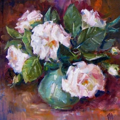Картина цветы «Белые розы» купить живопись для современных интерьеров Украина