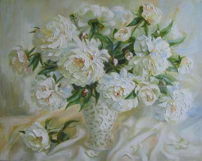 Картина «Белые пионы»