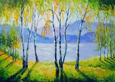 Картина маслом летний пейзаж «Березы у реки» купить живопись для современных интерьеров Украина