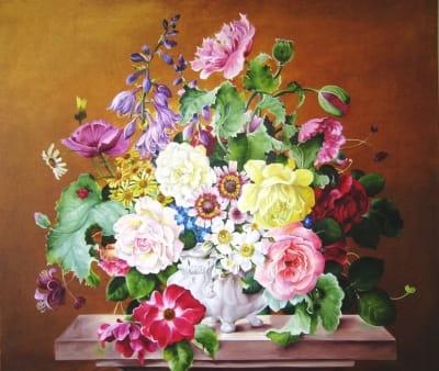 Картина цветы «Большой букет в белой вазе» купить живопись для современных интерьеров Украина