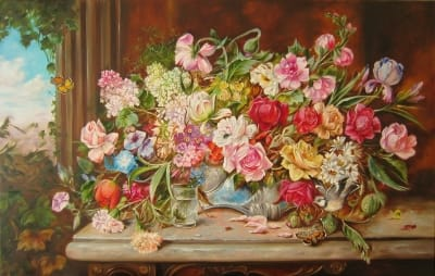 Картина «Большой натюрморт с цветами» - купить живопись для современных интерьеров Украина