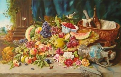 Картина «Большой натюрморт с фруктами» купить живопись для современных интерьеров Украина
