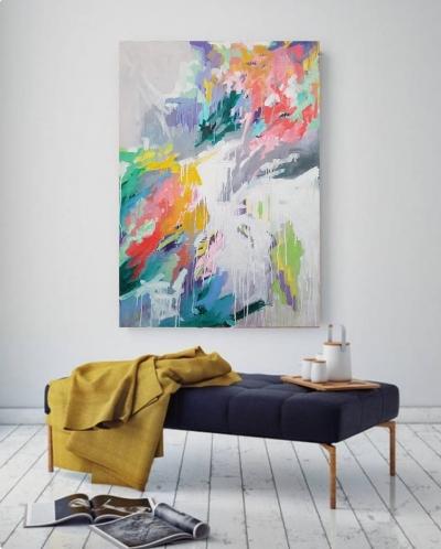 Картина маслом абстракция «В сердце яркая весна» в интерьере