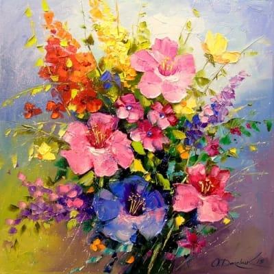 Картина маслом «Букет луговых цветов» - живопись для современных интерьеров Украина