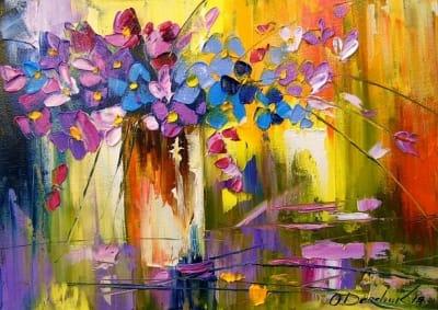 Картина маслом цветы «Букет цветов в вазе» купить живопись для современных интерьеров Украина