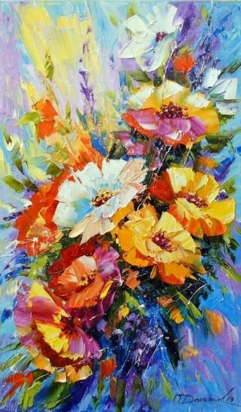Картина маслом цветы «Букет летних цветов» купить живопись для современных интерьеров Украина