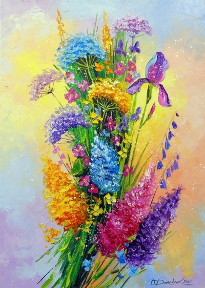 Картина с цветами «Букет луговых цветов» купить живопись для современных интерьеров Украина