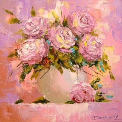 Картина маслом цветы «Букет нежных роз» - живопись для современных интерьеров Украина