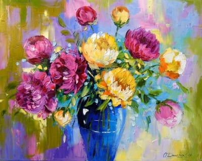 Картина маслом цветы «Букет пионов» - купить живопись для современных интерьеров Украина