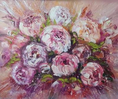 Картина маслом цветы «Букет пионов» купить современную живопись Киев