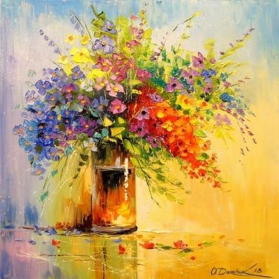 Картина маслом «Букет полевых цветов» - картины для современных интерьеров Украина