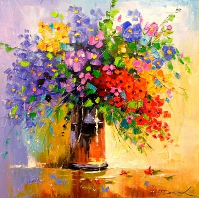 Картина маслом «Букет полевых цветов» - купить живопись для современных интерьеров Украина