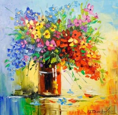 Картина маслом цветы «Букет полевых цветов» купить живопись для современных интерьеров Украина