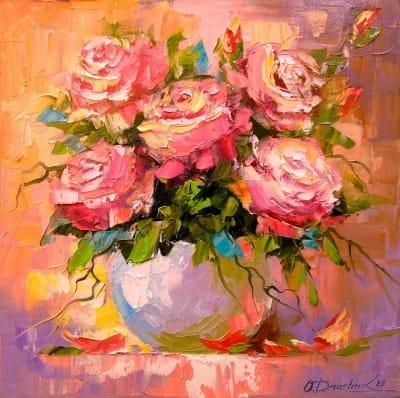 Картина маслом цветы «Букет роз» - купить живопись для современных интерьеров Украина