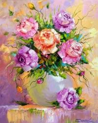 Картина маслом цветы «Букет роз» купить живопись для современных интерьеров Украина