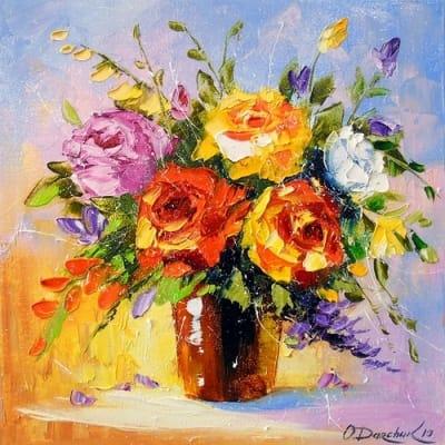 Картина маслом цветы розы «Букет роз» купить живопись для современных интерьеров Украина