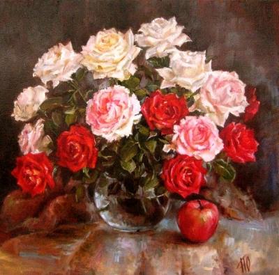 Картина цветы «Букет роз» купить живопись для современных интерьеров Киев