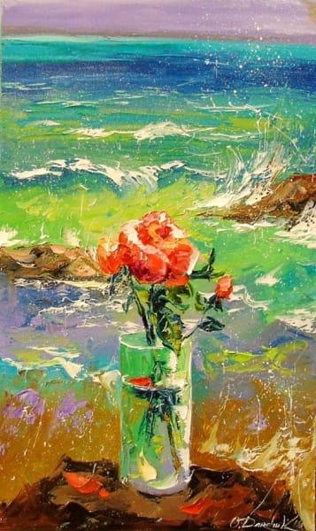 Картина «Букет роз у моря»