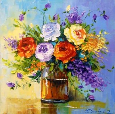 Картина маслом цветы «Букет роз» - купить живопись для современных интерьеров Киев