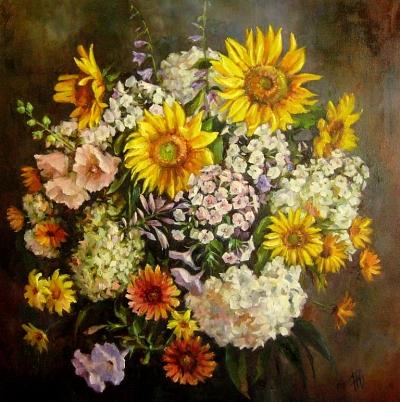 Картина цветы «Букет с подсолнухами» купить живопись для современных интерьеров Киев