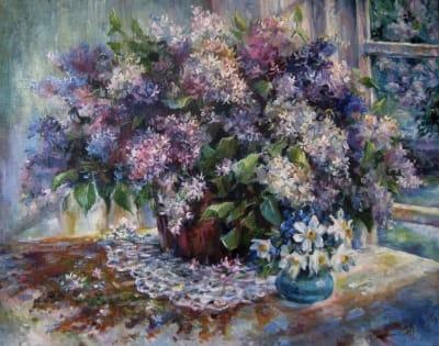 Картина цветы «Букет сирени» купить живопись для современных интерьеров Киев