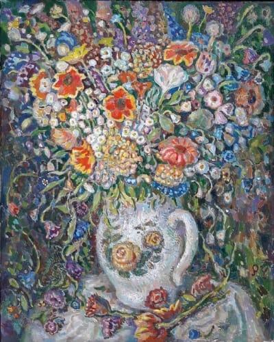 Картина цветы «Букет в белом кувшине» купить живопись для современных интерьеров Украина