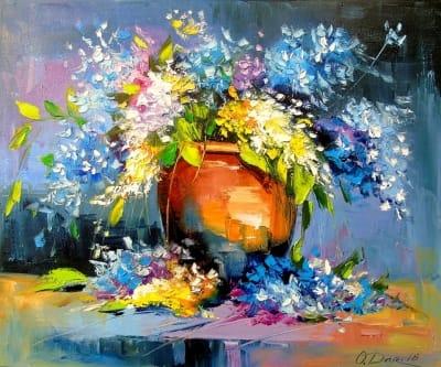 Картина маслом цветы «Букет в керамической вазе» картины для современных интерьеров Украина