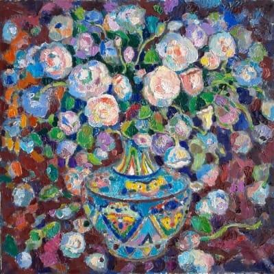 Картина цветы «Букет в китайской вазе» купить живопись для современных интерьеров Киев