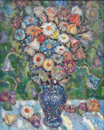 Картина цветы «Букет в синем кувшине» купить живопись для современных интерьеров Украина