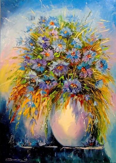 Картина «Букет васильков»