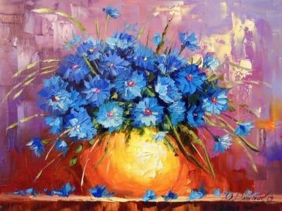 Картина маслом цветы «Букет васильков» - купить живопись для современных интерьеров Киев