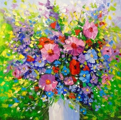 Картина маслом цветы «Букет ярких цветов» купить живопись для современных интерьеров Киев