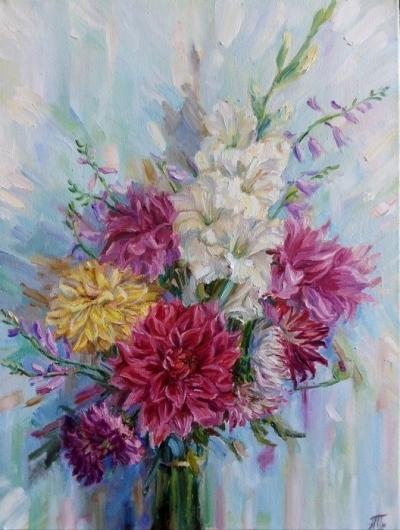 Картина маслом цветы «Букет георгинов» купить современную живопись Киев