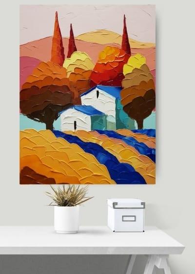 Картина маслом пейзаж «Чарующие поля Тосканы» купить живопись для современных интерьеров Киев