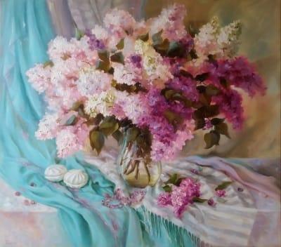 Картина «Чарующая весна» - живопись для современных интерьеров Украина - цветы