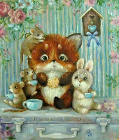 Картина для детей «Чаепитие» купить живопись для современных интерьеров Украина