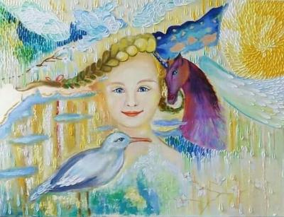 Картина маслом «Чайка Джонатан Ливингстон» купить живопись для современных интерьеров Украина