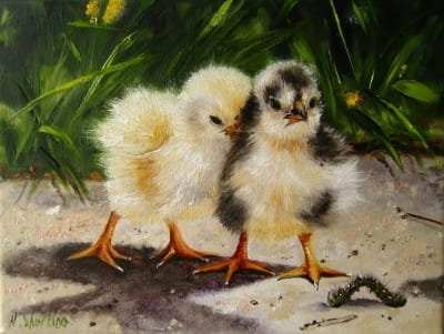 Картина «Цыплята - храбрецы» - купить живопись для современных интерьеров Украина