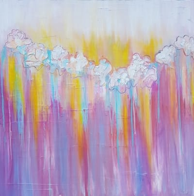 Картина абстракция маслом цветы «Весна. Цветение» живопись для современных интерьеров Киев