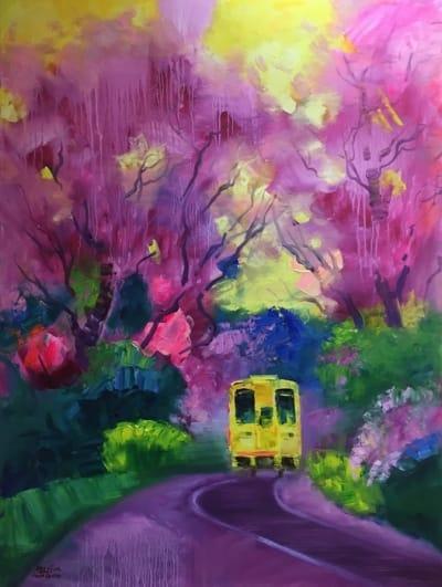 Картина маслом городской пейзаж «Цветение сакуры. Япония» купить живопись для современных интерьеров Украина