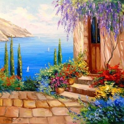 Картина маслом морской пейзаж «Цветение у моря» - купить живопись для современных интерьеров Украина