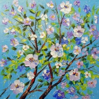 Картина маслом весенний пейзаж «Цветение яблони» купить живопись для современных интерьеров Украина