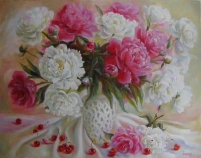Картина «Цветочно-вишневый натюрморт»