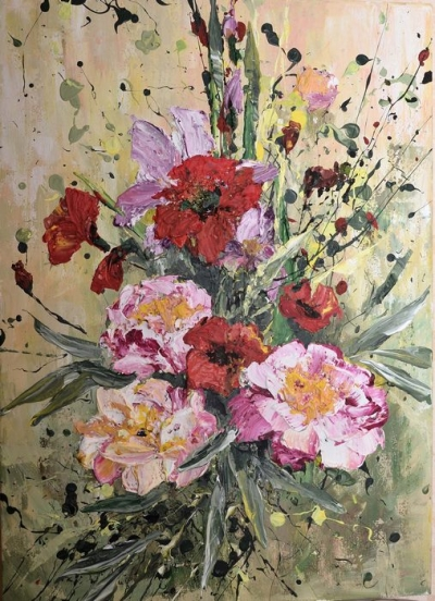 Картина маслом цветы «Цветочная фантазия» купить современную живопись Киев
