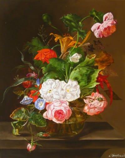 Картина цветы «Цветочный натюрморт» купить живопись для современных интерьеров Украина